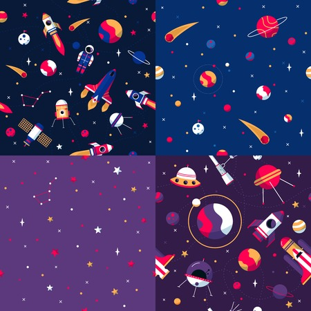 lunar rover: Space seamless patterns samples 4 flat icons square composition with colorful spacecrafts and planets abstract vector illustration