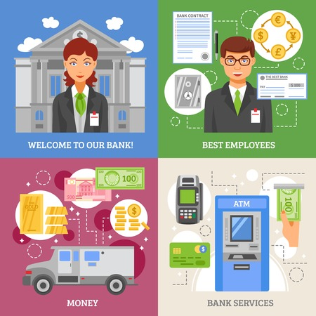 terminal: Bank services 2x2 design concept with  terminal for plastic card armored truck for money transportation and employees flat vector illustration
