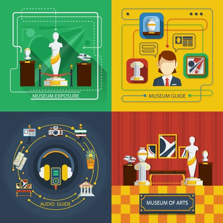 caretaker: Museum icon composition set with different aspects of museum life in infographic style vector illustration Illustration
