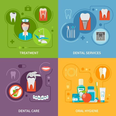 Dental Care Concept. Dental Icons Set. Dental Care Vector Illustration. Dental Care Symbols. Dental Care Design Set. Dental Elements Collection. Vektorové ilustrace