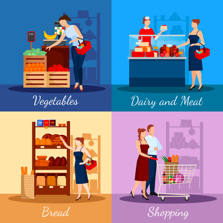 supermarket shelf: Shopping departments in supermarket with bread dairy and meat products vegetables and fruits isolated vector illustration