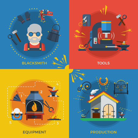Blacksmith 2x2 design concept set of tools for welding and molding smithy equipment and production flat vector illustration