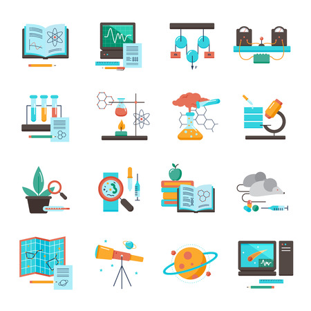 Science equipment icon set  for chemistry biology astronomy medicine vector illustration