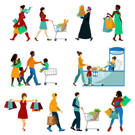 Shopping People Icons Set. Shopping People Vector Illustration. Shopping And People Decorative Set.  Shopping Design Set.Shopping Flat  Isolated Set. Vettoriali