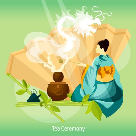 Feier: Teezeremonie Hintergrund. Teezeremonie Vektor-Illustration. Teezeremonie Entwurf. Teezeremonie Dekorative Illustration.