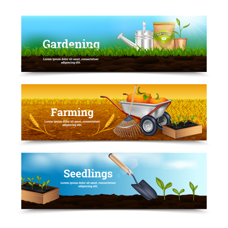 tools: Three farming horizontal banners with gardening tools and materials for planting at village landscape background vector illustration