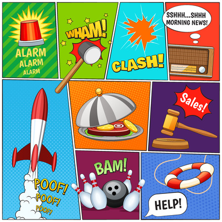 comicbook: Comic book page panels composition with alarm rocket old tv news text balloons symbols abstract vector illustration