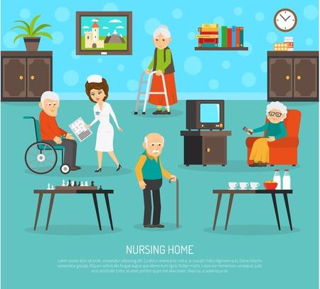 pensionado: cartel plana gerontológico con ayuda ayudante personal calificado en las personas de edad cartel casa plana resumen ilustración vectorial