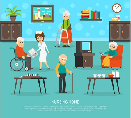 Gérontologie soins infirmiers affiche plat personnel qualifié aide assistant chez les personnes âgées affiche maison plat résumé, vecteur, illustration