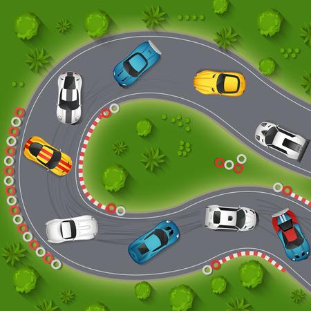 Coches de deriva Vista superior del fondo. Ilustración Rally Cars deriva del vector. Sport Cars Diseño de dibujos animados a la deriva. Coches de competición de deriva Símbolos decorativos.