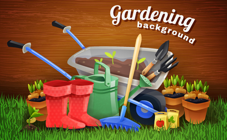 tools: Colorful gardening background with farm tools handcart rubber boots watering can and pots with seedlings on green grass flat vector illustration Illustration