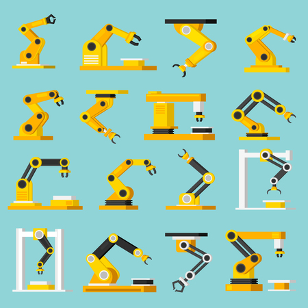 packaging equipment: Industrial mechanical automation conveyor robotic hands for manufacture orthogonal flat isolated icons set on light blue background vector illustration