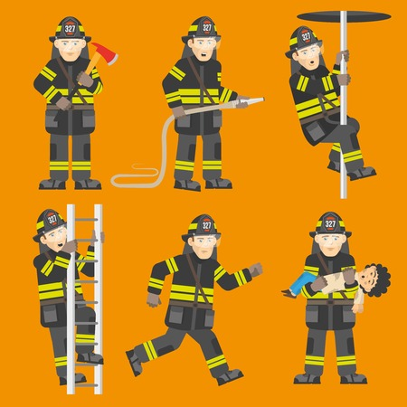 rescuing: Fireman in black uniform climbing ladder rescuing child quenching fire 6 flat figures collection abstract vector illustration Illustration