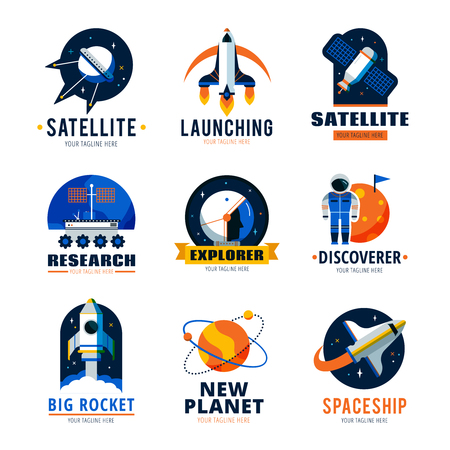 Space logo emblems set with satellite ship and new planet discoverer vector illustration