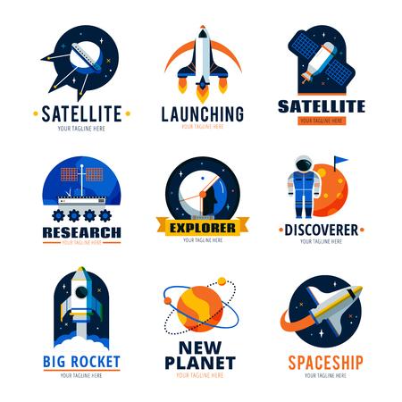 discoverer: Space logo emblems set  with satellite ship and new planet discoverer vector illustration