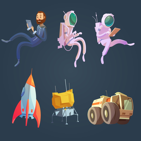 astronautics: Outer space cartoon set with spaceship and astronautics symbols isolated vector illustration