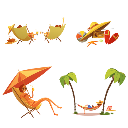 chaise lounge: Summer holiday cartoon icons set with chaise lounge and palms isolated vector illustration