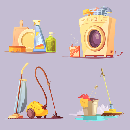 equipment: House apartments cleaning janitor services cartoon retro style 4 icons set with washing machine abstract vector illustration