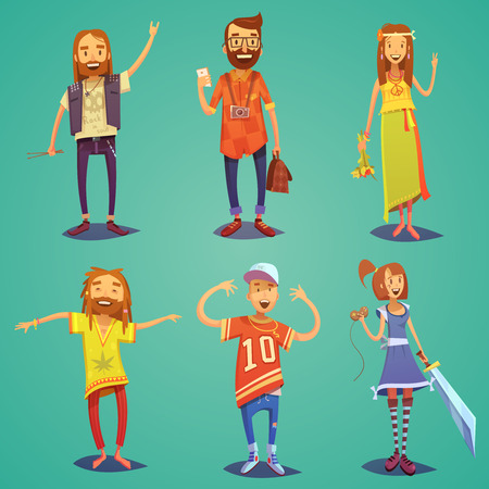 communication: Subculture happy people figures collection dressed in hipsters style clothing with retro accessories abstract cartoon isolated illustration Illustration