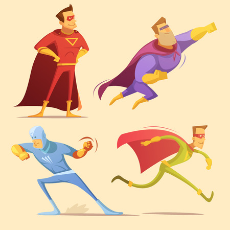 Superhero cartoon icons set with superman on yellow background isolated vector illustration