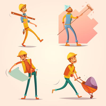 construction worker cartoon: Construction builder worker in yellow uniform helmet at work cartoon retro icons set retro isolated vector illustration