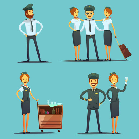departing: Pilot and stewardess cartoon icons set on blue background isolated vector illustration Illustration