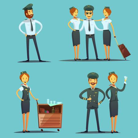 avion caricatura: Piloto y azafata de dibujos animados iconos conjunto aislado sobre fondo azul ilustración vectorial
