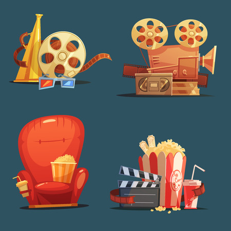 theater seat: Cinema symbols 4 retro style icons composition with clapboard camera and movie theater seat cartoon isolated illustration