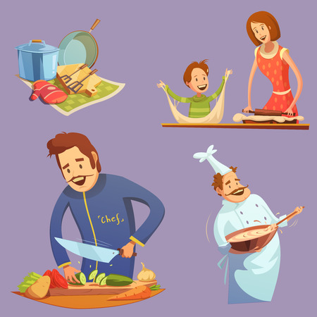 cooking utensil: Cooking retro cartoon icon set utensil mother and son cutting chef vector illustration