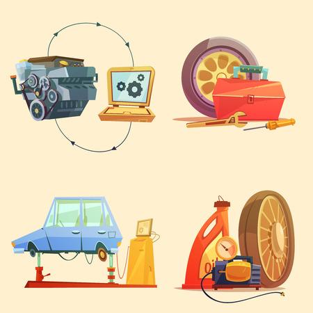 Auto Service garage center voor de vaststelling van auto's en vrachtwagens 4 cartoon retro pictogrammen instellen abstracte illustratie