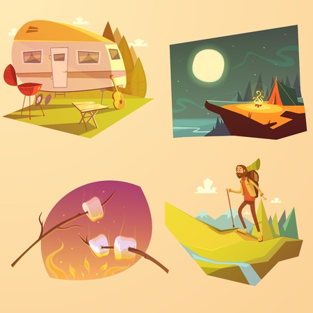 walking stick: Camping and hiking cartoon set with trailer tent and fire isolated vector illustration