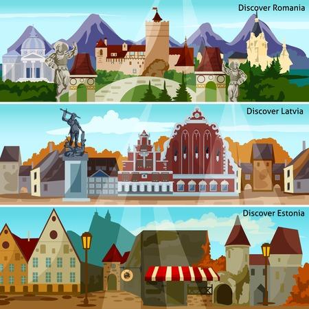 Europese stadsgezichten Flat Concept. Europa en de bezienswaardigheden horizontale banners. European Cities Vector Illustration. Europese landen die geïsoleerd Set. Europese stadsgezichten Design Symbolen. Vector Illustratie
