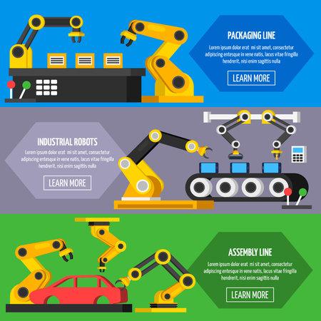 industrial automation: Industrial automation conveyor  robotic hands for manufacture orthogonal horizontal banners with packaging and assembly line flat isolated vector illustration Illustration