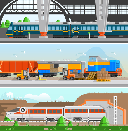 Rail transport horizontal flat banners with high speed passenger train railroad station and loading at railway transport compositions vector illustration
