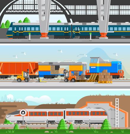 trasporto ferroviario striscioni piana orizzontale con stazione ferroviaria treno passeggeri ad alta velocità e di carico nelle stazioni composizioni di trasporto illustrazione vettoriale