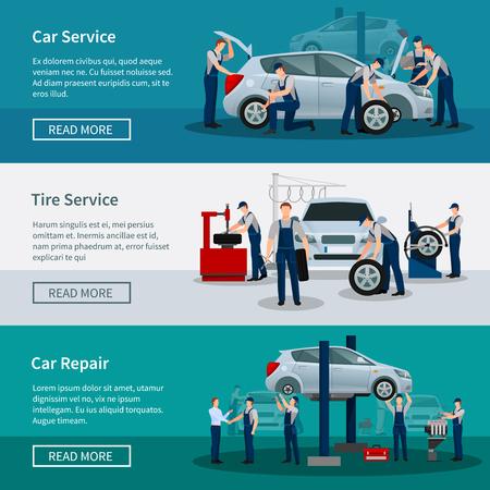 Banderas horizontales planas con escenas presenta los trabajadores de servicio de neumáticos servicio de coche y la ilustración vectorial de reparación de automóviles
