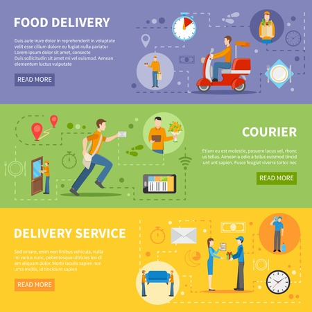 delivery: Delivery service and courier people delivering various goods horizontal colorful banners flat vector illustration