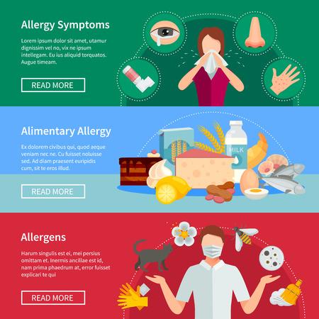Allergie Flat Concept. Allergie horizontale banners. Allergie Vector Illustratie. Allergie Geïsoleerde Set. Allergy Design Symbolen.