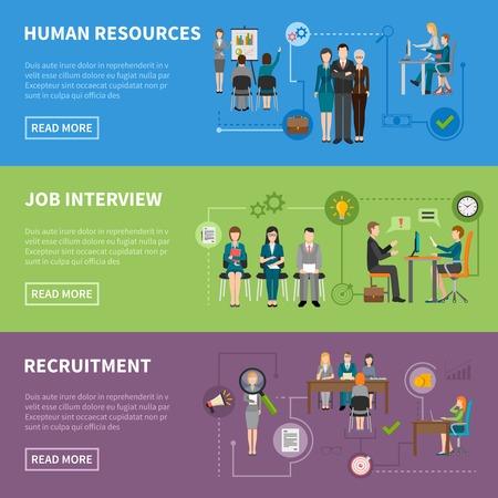 Reclutamento persone HR discutendo progetti intervistando e cercare candidati banner orizzontali piattaforma illustrazione vettoriale