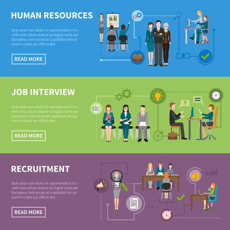 Recruitment HR people discussing projects  interviewing and searching for applicants horizontal flat banners vector illustration Illustration