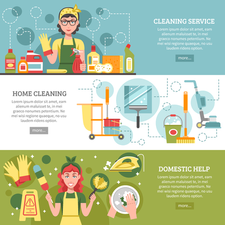 servicio domestico: Tres banderas diferentes sobre el tema de servicio de limpieza con títulos como la limpieza servicio de limpieza en el hogar y en el servicio doméstico ilustración vectorial Vectores