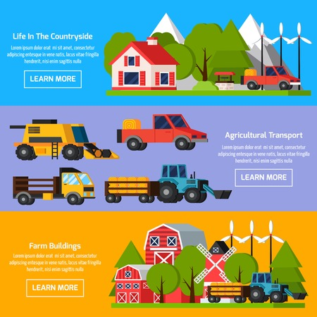 orthogonal: Horizontal farm orthogonal flat banners depicting life in countryside agricultural transport and farm buildings isolated vector illustration