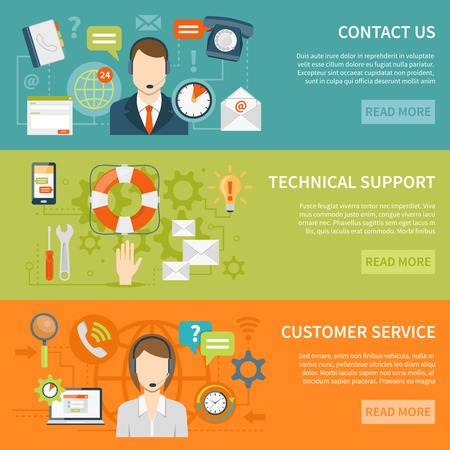 offline: Contact us customer support banners of online and offline technical and other support services flat vector illustration