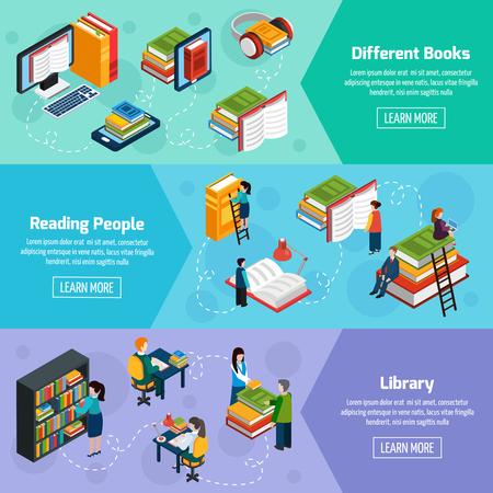 personas leyendo: Biblioteca banners horizontales isométricas con diferentes libros y lectura de la gente en la ilustración del vector del estilo de la fantasía Vectores