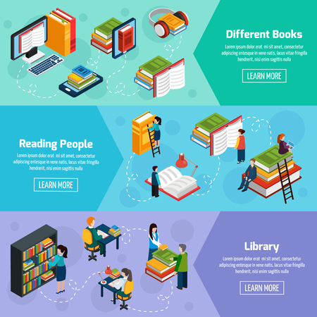 librarian: Library isometric horizontal banners with different books and reading people in fantasy style vector illustration