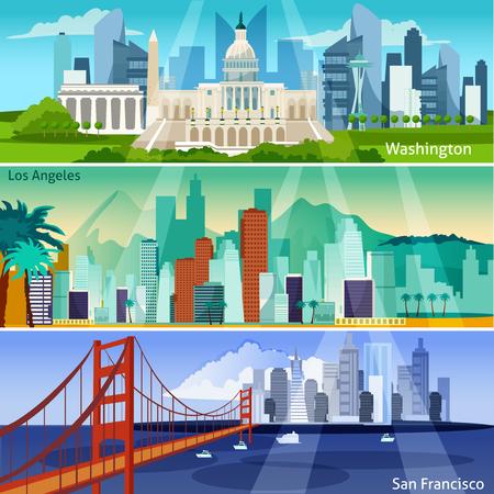 Americana urbanos Concepto plana. USA banners horizontales de interés. Ilustración del vector ciudades de Estados Unidos. Latina y ciudades aisladas fijadas. Símbolos americanos urbanos de diseño.