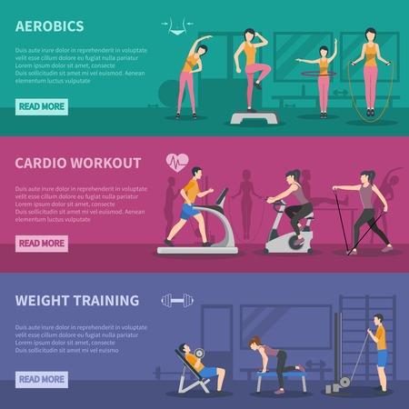 Différents types de formation de salle de fitness bannières horizontales avec aérobic cardio et musculation plat illustration vectorielle