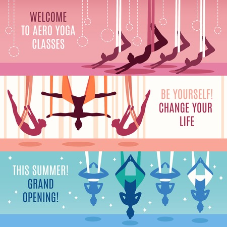 Three aero yoga horizontal banner set with descriptions of to aero yoga classes change your life and grand opening vector illustration Illustration