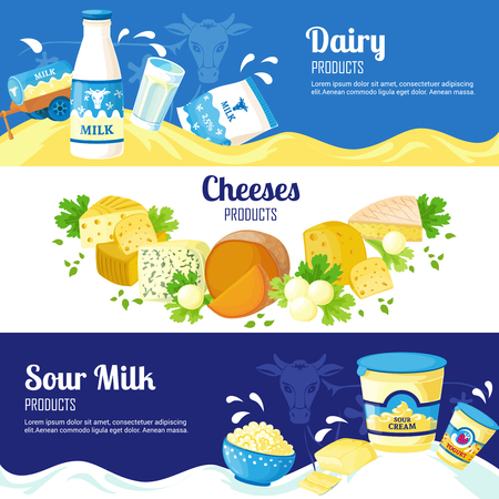 sour: Dairy products horizontal banners with advertising of different cheeses sour cream and milk flat vector illustration Illustration