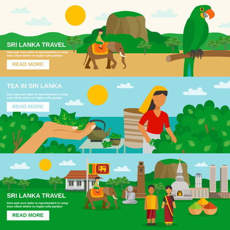 Color horizontal banner depicting Sri Lanka travel and culture of the island vector illustration